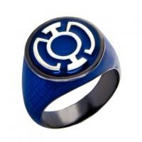 Blue Lantern Inspired Silver Ring Black Snake Skin Edition