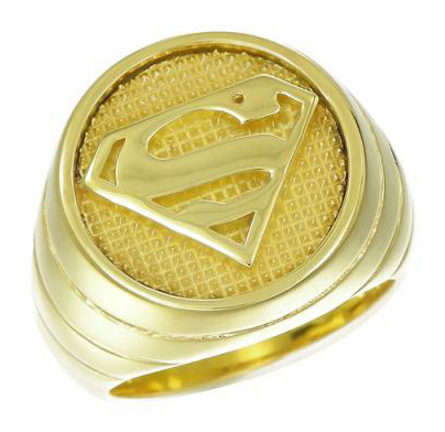 superman inspired ring yellow gold plated sterling silver