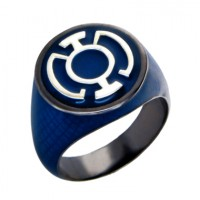Blue Lantern Inspired Silver Ring Black Snake Skin Edition