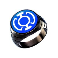 Blue Lantern Inspired Silver Ring Blackest Night Style Jewelry