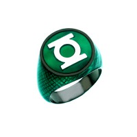 Green Lantern Inspired Silver Ring Green Snake Skin Edition