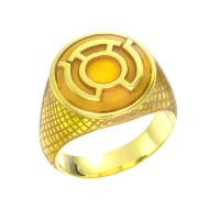 Sinestro Inspired Silver Ring Yellow Snake Skin Edition