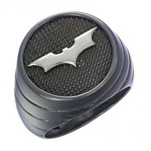 Batman Inspired Ring Dark Knight Black Sterling Silver Jewelry