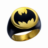 Batman Inspired Ring Dark Knight Rising Black Silver Jewelry