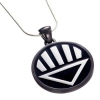 Black Lantern Inspired Pendant Blackest Night Silver Jewelry