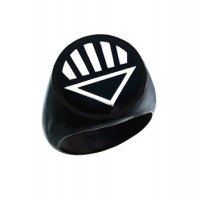 Black Lantern Inspired Silver Ring Black Snake Skin Edition