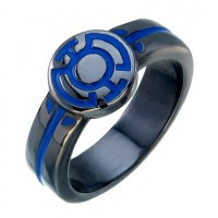 Blue Lantern Inspired Ladies Ring Black Silver Jewelry