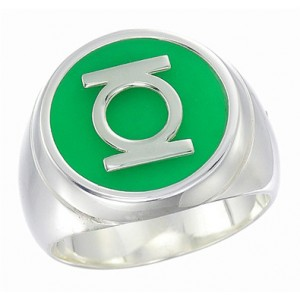 Green Lantern Inspired Silver Ring New Style Jewelry