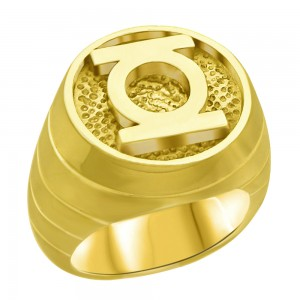 Green Lantern Inspired Silver Ring Yellow Gold Plt. Jewelry