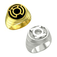 Green Lantern Sinestro Inspired Silver Ring Set Jewelry