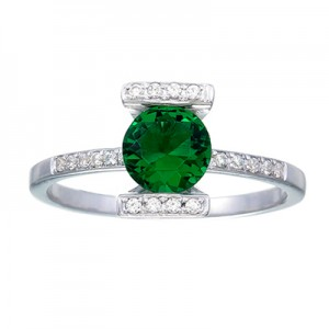Green Lantern Inspired Engagement Ring Silver Jewelry V1