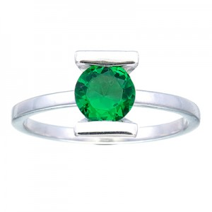 Green Lantern Inspired Engagement Ring Silver Jewelry V2
