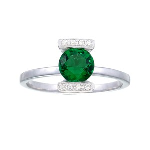 Green Lantern Inspired Engagement Ring Silver Jewelry V3