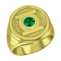 Green Lantern Inspired Silver Ring Will Power Edition Gold Plated