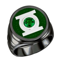 Green Lantern Inspired Silver Ring Blackest Night Jewelry