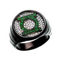 Green Lantern Inspired Silver Ring Black Iced Out CZ Jewelry