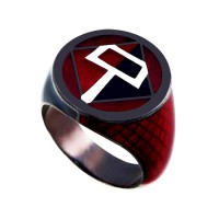Harley Quinn Inspired Red Black Lantern Silver Ring Jewelry