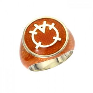 Orange Lantern Inspired Silver Ring Snake Skin Edition