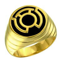 Sinestro Corps Inspired Silver Ring Yellow Gold Plt Jewelry