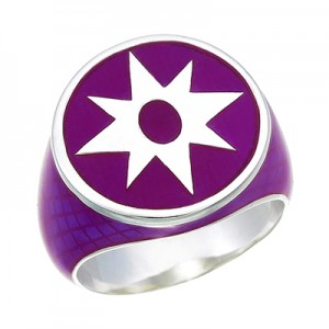 Star Sapphire Inspired Silver Ring Violet Snake Skin Edition