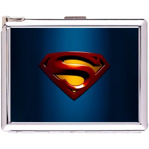 Superman Logo Cigarette Case Stainless Steel with Lighter