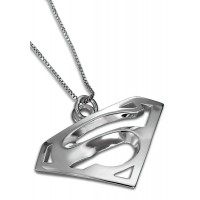 Superman Inspired Charm Pendant Jewelry Solid 18K White Gold