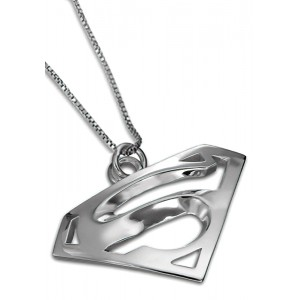 Superman Inspired Charm Pendant Solid Sterling Silver Jewelry