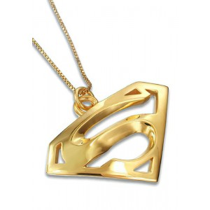 Superman Inspired Charm Pendant Jewelry Solid 18K Yellow Gold
