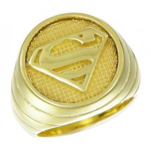 Superman Inspired Ring Yellow Gold Plt Sterling Silver Jewelry